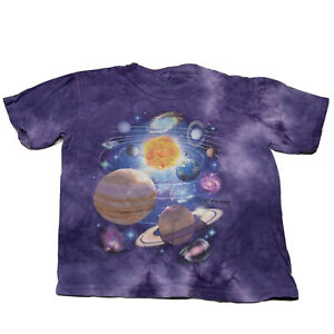 The Mountain Youth Size S/M Graphic Tie Dye Planets Short Sleeve T Shirt Purple