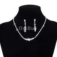 New Prom mariée collier en cristal boucle d'oreille bijoux en strass Set