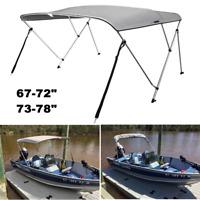 """VIVOHOME 67-72""""/73-78"""" Grey Boat Bimini Shade Canopy Top Cover 3 Bow & Rear Pole"""