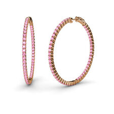 Round Pink Tourmaline 1 3/4 ctw Inside-Out Hoop Earrings 14K Rose Gold JP:37582