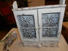 Small White Curio Shelf ,2 doors,one drawer