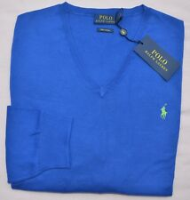 $98 New Medium POLO RALPH LAUREN Mens v-neck pima cotton sweater blue jumper M