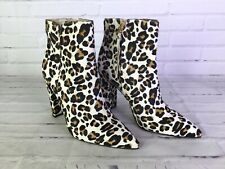 7568b19fb6c4 Sam Edelman Womens Size 6 Brahma Hair Leopard Print Zip Up Ankle Boots  Booties