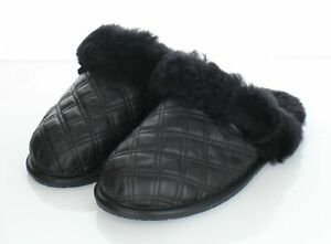 52-38 NEW $85 Women's Sz 7 M Ugg Scuffette II Quilted Leather Slippers In Black