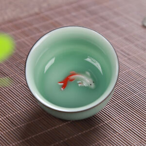 2pcs/lot China tea cup porcelain fish relief cup of tea Chinese kungfu tea cups