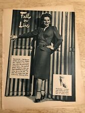 Vintage 1944 Magazine Page (2-sided)  -  MAUREEN O'HARA Modeling Shoes