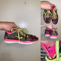 Nike Free Tr Fit 4 Womens Size 7 Running Shoes Green Pink Black Striped Lace Up