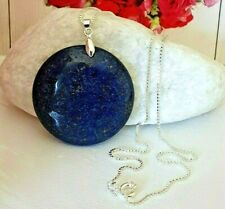 Gifts for Her💎NATURAL💎Blue LAPIS LAZULI pendant & Silver 18 inch necklace
