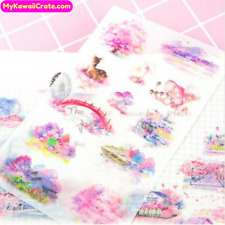 6 Sheets Romantic Sakura Cherry Blossom Town Stickers ~ Japanese Flowers Sticker