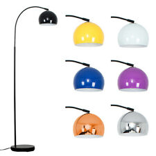 Retro Black Floor Lamp Tall Curved Design Metal Dome Lampshades LED Light Bulb