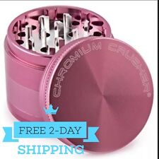 Magnetic Tobacco Grinder Aluminum Herb/Spice Crusher 4 Piece - Pink
