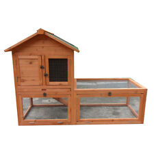 Rabbit Hutch Large Double Story Chook House Guinea Pig Cage w Extra Run  T033