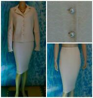 ST. JOHN Couture Off White JACKET & Skirt L 10 12 14 2pc Suit Pearl Buttons Trim