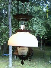 Unusual Pat 1870 -1871 Cast Iron Hanging Oil Lamp w Milk Glass Dome Shade - Rare