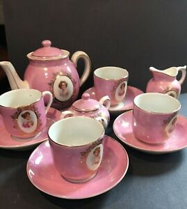 Antique Children's Pink Luster Porcelain Tea Set - Victorian Lady Motif,