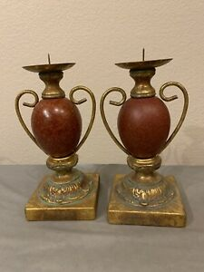 Pair of Rare Antique Vintage ART DECO  Brass Marble Candle Holders Made in