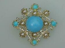 """PRETTY VINTAGE 70'S SIGNED """"HOLLYWOOD"""" TURQUOISE  BROOCH"""