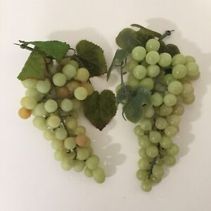 Lot of 2 Artificial Green Grapes Clusters Plastic Fake Fruit Decor