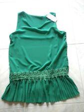 blusa maglia canotta donna ragazza verde intenso nuovo taglia unica