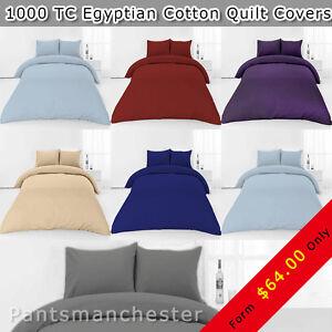New 1000TC Egyptian Cotton Quilt Doona Duvet  Cover Set 9 colours