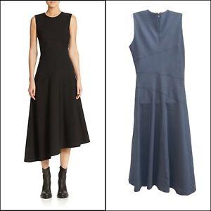 DKNY Donna Karan Wool Blend Black Sleeveless A-Line Asymmetrical Midi Dress 12
