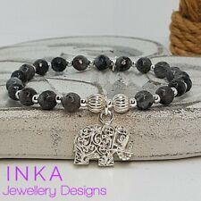 Inka 925 Sterling Silver & Labradorite bead Stacking Bracelet & Elephant charm