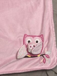 Babies R Us Blue Owl Pink Sherpa Baby Blanket Mama Baby Velour