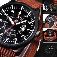 Military Mens Quartz Watch Date Canvas Waterproof Analog Sport Wrist Watch