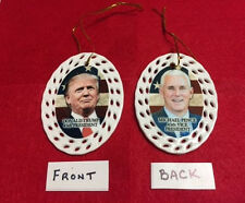 DONALD TRUMP /MIKE PENCE 45TH PRESIDENT/VICE PORCELAIN CHRISTMAS ORNAMENT LOT 3