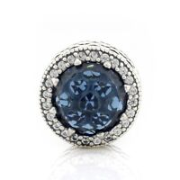 925 Sterling Silver Midnight Radiant Hearts Charm Moonlight Blue Clear CZ Bead