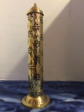 All Brass Tower Incense Burner With Lotus Flower Cutouts