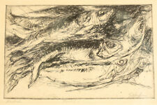 "Arnold Schifrin (American 1926-1994) Etching on paper, ""Mackrel"" signed"