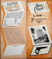 Q Airways 1950s Airline Travel Brochure - Miami Colonial Hotel - Florida FL