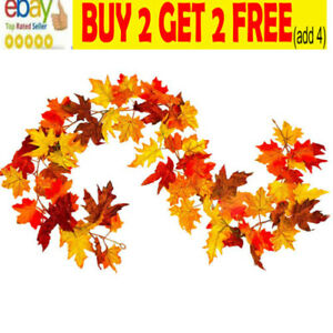 1.7M Artificial Autumn Fall Maple Leaves Garland Hanging Plant Home Party DecoNL