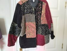 Indigo Moon Velvety Applique Quirky, Bohemian Jacket Size 2X L