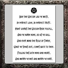 12 X 16 inch STENCIL Wiccan Creed/Rede with Pentagram/Pentacle Star Pagan/Wicca