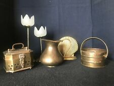 Mixed Lot 6 Pcs Vintage Solid Brass Candle Holders Trinket Box Wedding Decor B3