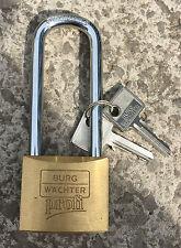 Burg Wachter Profi Long Shackle 50mm Brass Padlock - 116/50 - Made in Germany