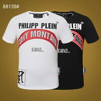 PHILIPP PLEIN Black/White Letters Beading Men Casual T-shirt P88139# Size M-3XL