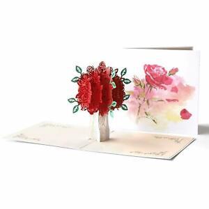 New 3D Pop Up Birthday Rose Flower Bouquet Mother Anniversary Valentine Card