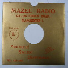 "78rpm 10"" card gramophone record sleeve  MAZELS RADIO MANCHESTER gold metallic"
