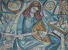 "Hand Signed Irving Amen ""Musician"" Judaica A/P Lithograph Art Print Israel"
