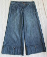 Anthropologie TAIKONHU Wide Leg Cropped Chambray Jeans Button Cuffs , 6 Small S