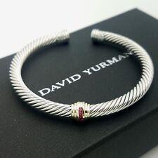 David Yurman Sterling Silver & 14K Gold Red Ruby Single Station Bangle Bracelet