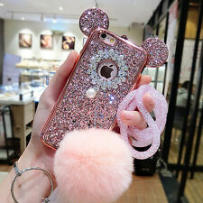 MOUSE EAR GLITTER PEARL POM POM LANYARD FOR IPHONE 7 PLUS CASE ROSE GOLD #CC150