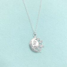 Beautiful Sun and Moon Kissing Silver Charm Necklace.