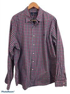 Ralph Lauren Men's Red Plaid Checkered Dress Shirt Size XXL Collared Cotton