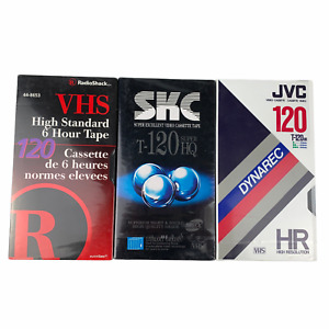 Lot of 3 Assorted Blank Sealed T-120 VHS Tapes Radio Shack SKC JVC 6 Hour 246M