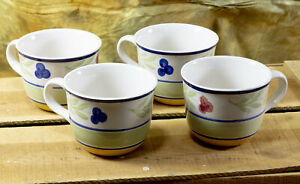 4 Gibson Everyday Houseware China Cups - Red, Blue, Yellow Flowers - GID211