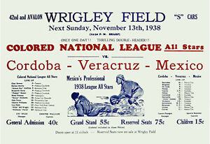 """Negro League Poster 1938 All Star Game Poster at Wrigley Field - 8"""" x 10"""" Photo"""